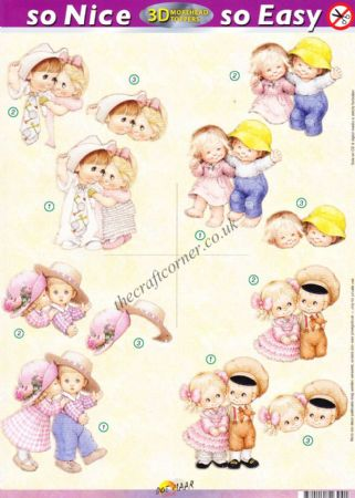 Boys and Girls Together So Nice, So Easy Morehead 3D Die Cut Decoupage Sheet